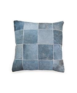 Kussen Leer Patchwork 45x45 cm – blauw