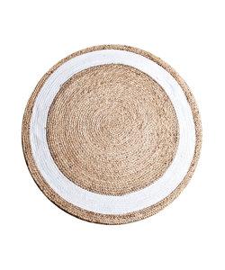 Vloerkleed Jute round 120 cm - natural wit