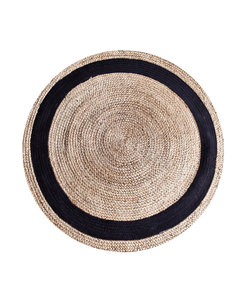 Vloerkleed Jute round 120 cm - natural/zwart