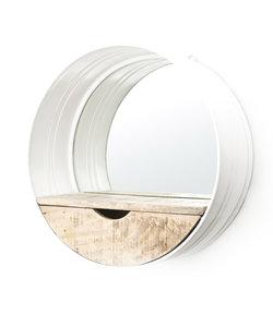 Ronde Spiegel met Lade - wit