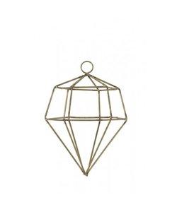 Ornament hang Ø10x14 cm DIAMOND draad goud