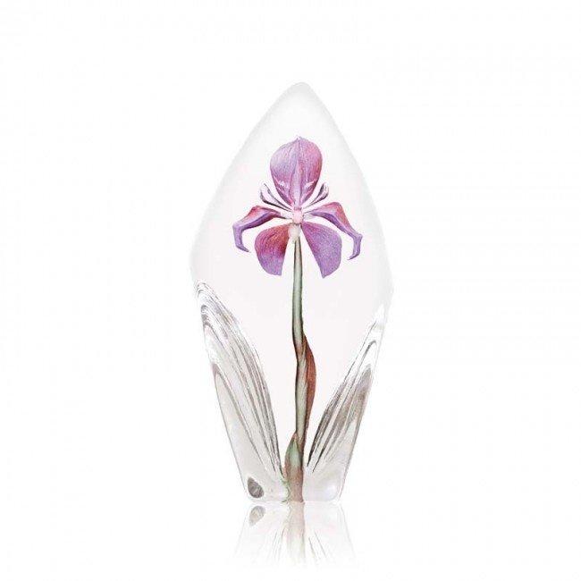 Mats Jonasson (Glaskunstenaar) Kristallen Irisbloem sculptuur
