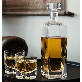 Kosta Boda Whiskey karaf met 2 whiskey glazen