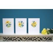 Vervaco Wenskaarten Gele en blauwe bloempjes 3 st 0155786