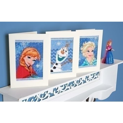 Vervaco Frozen wenskaarten Anna, Elsa en Olaf 0168526