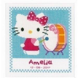 Vervaco Geboortetegel Hello Kitty speelt op trom 0156474