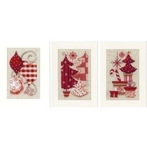 Vervaco Vervaco wenskaarten Kerstmotieven 3 stuks 0146572
