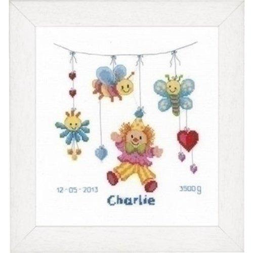 Vervaco Borduren geboortetegel Clown Charlie PN 0021813