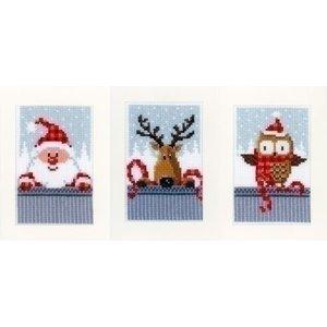 Vervaco Wenskaarten Kerstfiguren I set van 3 0149384