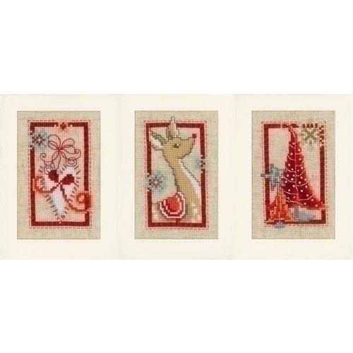 Vervaco Borduren Wenskaarten Kerst set van 3 0154080