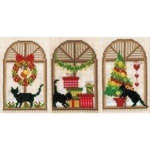 Vervaco Borduur wenskaarten Kerstsfeer poezen 3 st 0150427