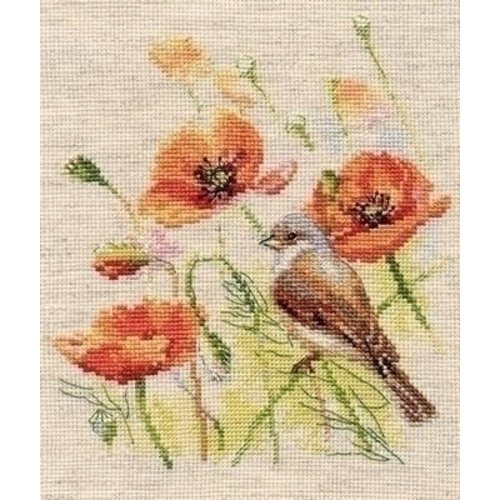 Alisa Alisa borduurpakket Bird and Poppies 01-025
