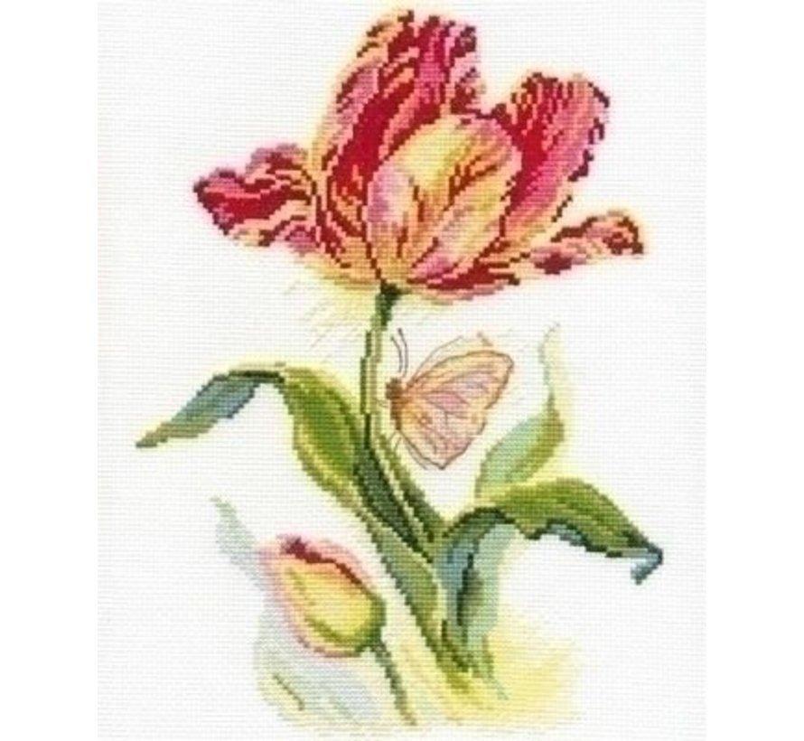 Alisa borduurpakket Tulip and Butterfly 02-014