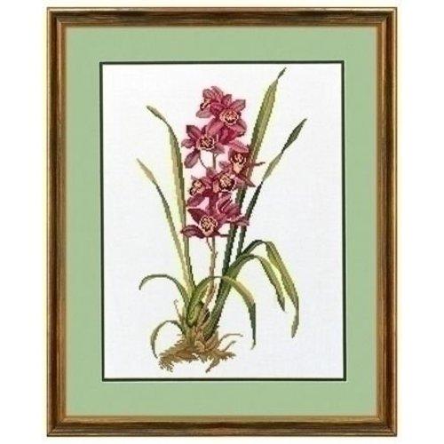 Eva Rosenstand Kruissteek borduren Rode Orchidee 14-155