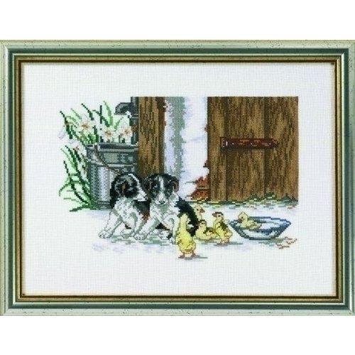 Eva Rosenstand Borduurpakket puppies met jongen ganzen 12-993
