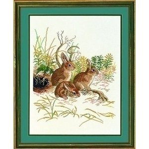 Eva Rosenstand Eva Rosenstand borduurpakket 3 konijnen 12 972