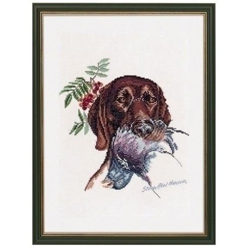 Eva Rosenstand Borduurpakket jachthond met duif 12 950