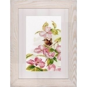 Lanarte Lanarte Roze bloemen met klein vogeltje 0149990