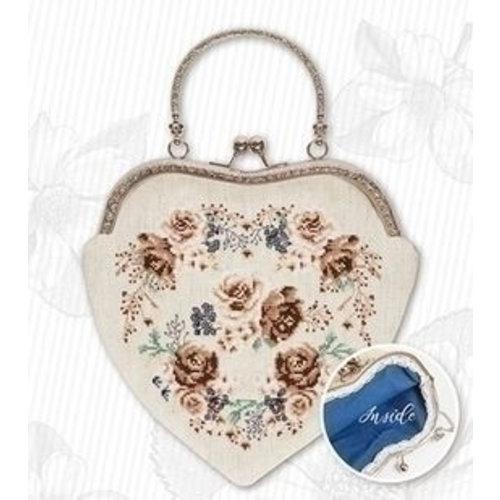 Luca S Luca S Handbag Roses Brown Luca-S bag021