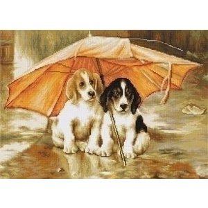 Luca S Petit Point Couple under an Umbrella G550