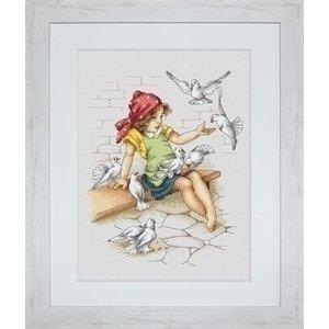 Luca S Luca S borduurpakket Girl with Pigeons B1051