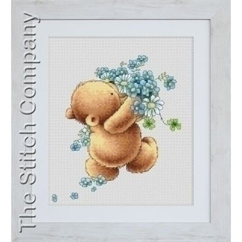 Luca S Bear with Forget me not Flowers B1052