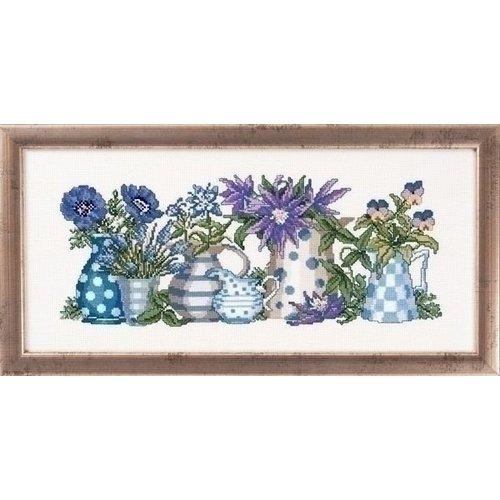 Permin Permin blauwe bloemen in potten 12 5187