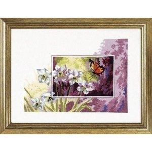 Permin Permin borduurpakket bloemen met vlinder 12 3195