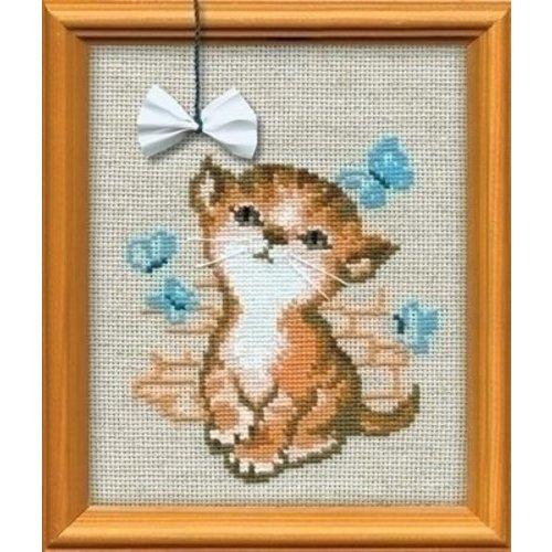 Riolis Riolis borduurpakket Kitten with a Bow ri-0671