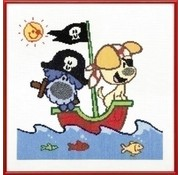 Woezel en Pip borduurpakket Piratenschip 271 001
