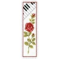 Boekenlegger rode roos met toetsen van piano 3136
