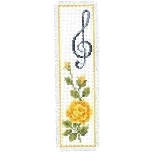 Vervaco Boekenlegger gele roos met muzieknoot 0003137