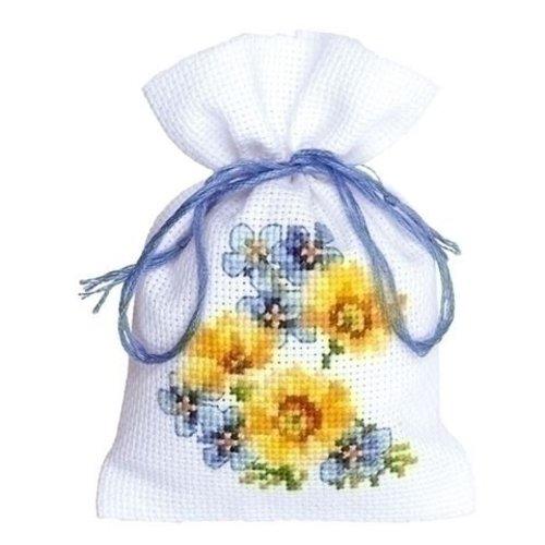 Vervaco Kruidenzakje blauwe en gele bloemen III 0146041