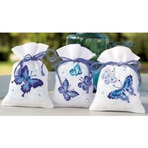 Vervaco Kruidenzakjes blauwe vlinders set van 3 0146430