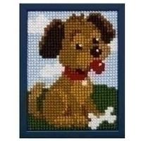 Borduurpakket hondje voor kinderen, voorbedrukt. 027.024