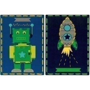 Vervaco Borduurkaarten Robot en raket 2 st 0157038