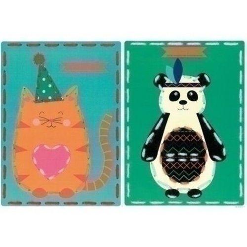 Vervaco Borduurkaarten Poes en panda 2 st 0157040