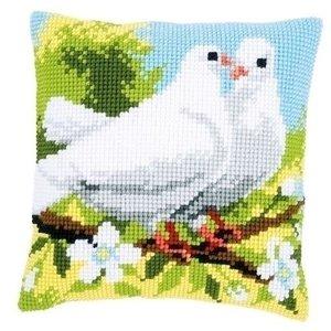 Vervaco Vervaco Kruissteekkussen Witte duiven 0158106