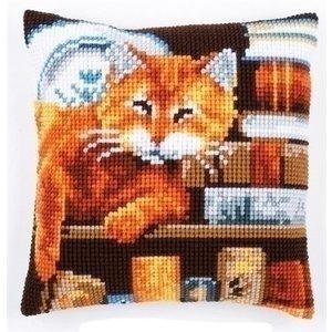 Vervaco Vervaco borduurkussen Kat tussen boeken 0163873