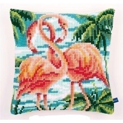 Vervaco Vervaco kruissteekkussen Flamingo's 0155019