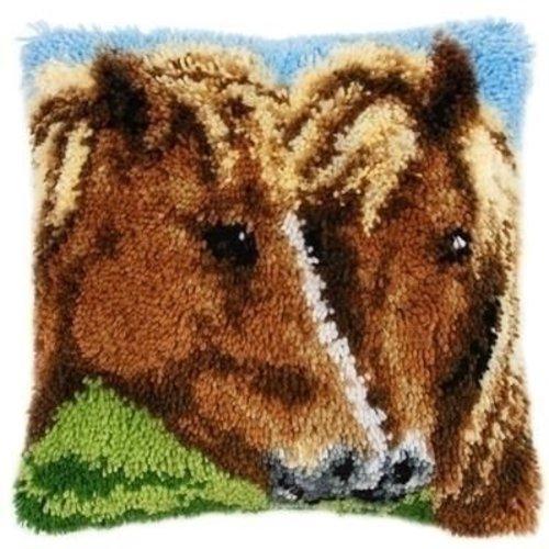 Vervaco Vervaco smyrna knoopkussen paarden 0154275