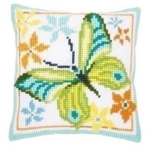 Vervaco Vervaco kruissteekkussen groene vlinder 0163342