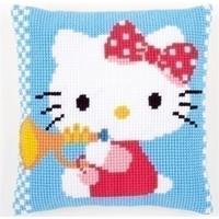Kruissteekkussen Hello Kitty met trompet 0156470