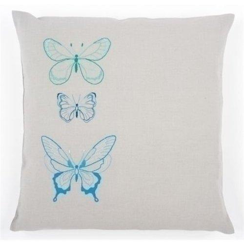 Vervaco Borduurkussen 3 vlinders in blauwe tinten 0157407