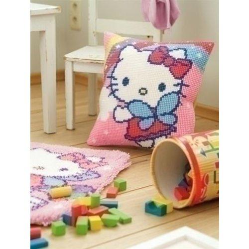 Vervaco Kruissteekkussen Hello Kitty met regenboog 0151118