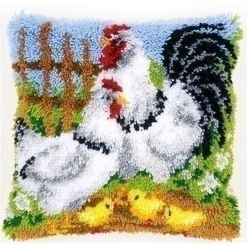 Vervaco Knoopkussen Kippenfamilie op de boerderij 0148984