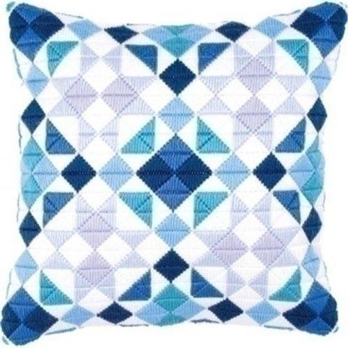 Vervaco Bargello spansteekkussen blauwe ruiten 0145699