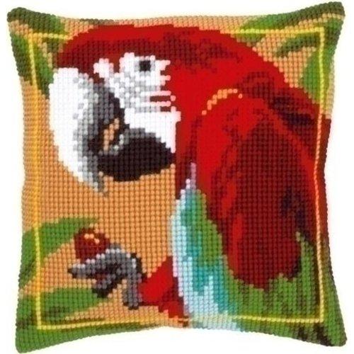 Vervaco Borduurkussen rode papegaai 0021698
