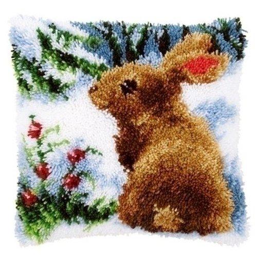 Vervaco Smyrna knoopkussen konijn in de sneeuw 0147712