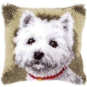 Vervaco Smyrna knoopkussen hond Westie 0145648